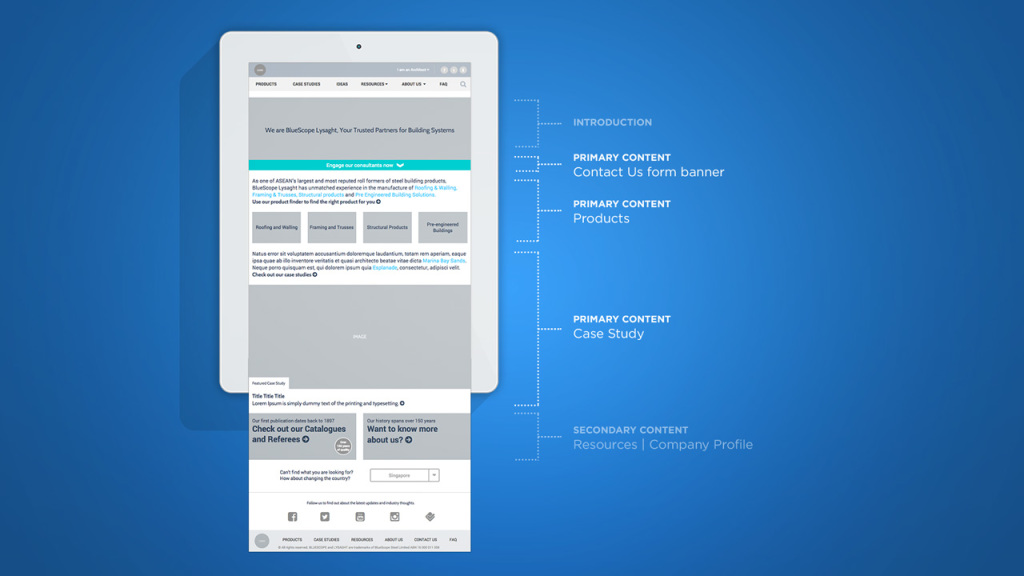 Bluescope Lysaght - Homepage wireframe
