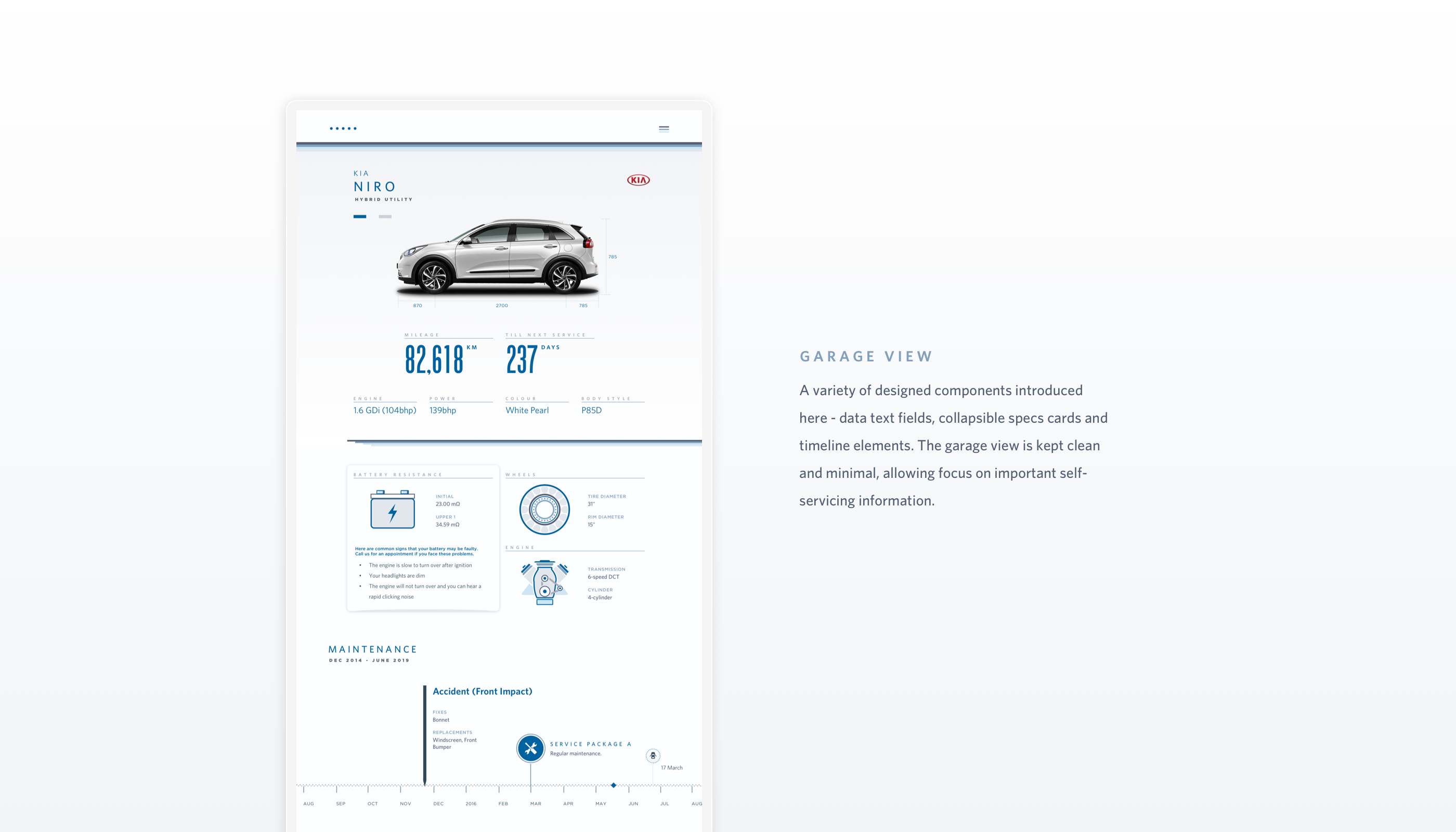 A variety of designed components introduced here - data text fields, collapsible specs cards and timeline elements. The garage view is kept clean and minimal, allowing focus on important self-servicing information.