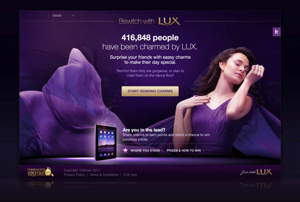 Bewitch with Lux campaign - FB app Landing page