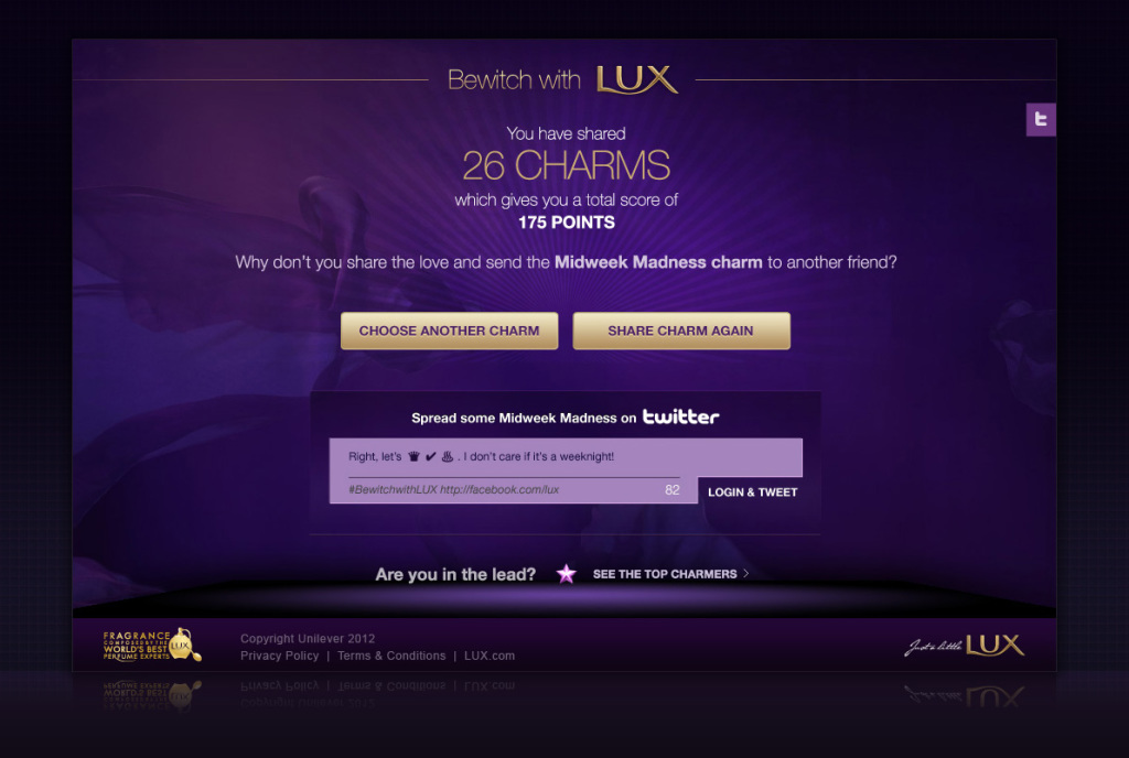 Bewitch with Lux FB app - Social Sharing